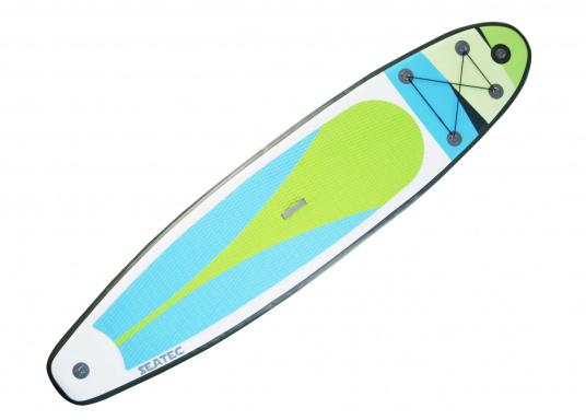 Einsteigerboard mit sehr gutem Preis-Leistungsverhältnis. Maße: 365 x 82 x 15 cm. Gewicht ca. 14,5 kg, Tragkraft ca. 160kg, Auftrieb: ca. 350l. Druck ca. 1,0bar.  (Bild 5 von 14)