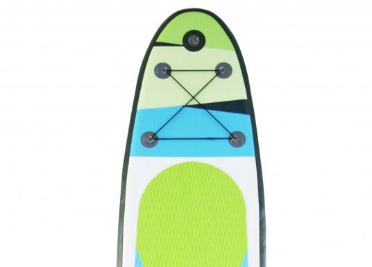 Einsteigerboard mit sehr gutem Preis-Leistungsverhältnis. Maße: 365 x 82 x 15 cm. Gewicht ca. 14,5 kg, Tragkraft ca. 160kg, Auftrieb: ca. 350l. Druck ca. 1,0bar.  (Bild 7 von 14)