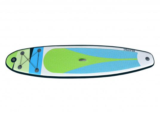 Einsteigerboard mit sehr gutem Preis-Leistungsverhältnis. Maße: 365 x 82 x 15 cm. Gewicht ca. 14,5 kg, Tragkraft ca. 160kg, Auftrieb: ca. 350l. Druck ca. 1,0bar.  (Bild 6 von 14)