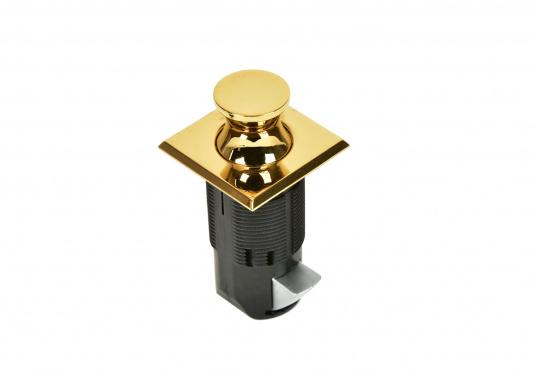 Druckschnapper aus Messing gefertigt. In eckiger Form. Bündiges Design.