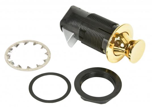 Druckschnapper aus Messing gefertigt. In runder Form. Bündiges Design. (Bild 4 von 5)