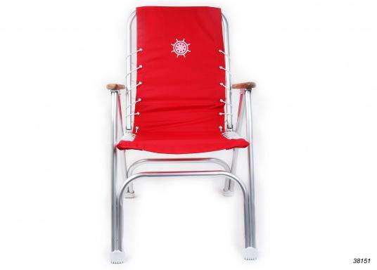 Stabil, korrosionsfest, praktisch zusammenklappbar und natürlich mit hohem Sitzkomfort! Decksstuhl aus solidem, seewasserbeständigem Alurohr mit Armlehnen aus Holz. (Bild 4 von 4)