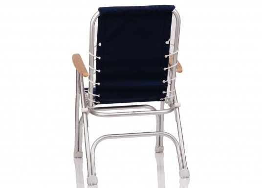 Very comfortable foldable chair / resistant to corrosion. Sea-water resistant aluminium (ALMG  1.5 Mn) frame with 100% coton fabric and  wooden armrests.  (Image 2 of 5)