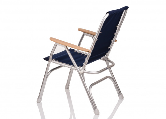 Very comfortable foldable chair / resistant to corrosion. Sea-water resistant aluminium (ALMG  1.5 Mn) frame with 100% coton fabric and  wooden armrests.  (Image 3 of 5)