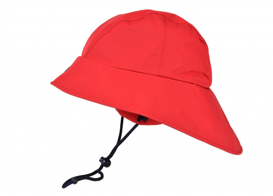 Südwester in hervorragender, atmungsaktiver Qualität. In der Farbe Rot. Material: 100% Nylon. Größen: S-L. (Bild 2 von 2)