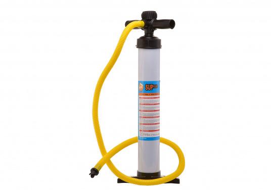 Pompe à main haute pression avec manomètre pour le gonflage des SUP. Cette pompe vous permet de gonfler un SUP rapidement et sans effort.