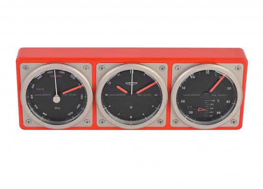 Das Kombiinstrument zeigt auf einen Blick die wichtigen seemännischen Grundwerte: Uhrzeit, Luftdruck, Temperatur sowie die Luftfeuchtigkeit an.