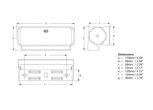 Der breitstrahlende, mit Präzisionsoptik ausgestattete LED Scheinwerfer eignet sich aufgrund derzwei schaltbaren Helligkeitsstufen besonders für den Einsatz im Nahbereich, in Cockpits und auf Deck. Er bietet eine beachtliche Lichtstärke bei sehr geringer Leistungsaufnahme.  (Bild 6 von 7)