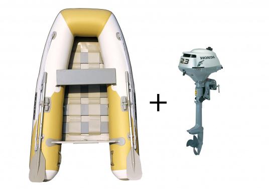 Ce pack comporte une annexe gonflable SEATEC YACHTING 225 et un moteur hors-bord HONDA BF 2,3