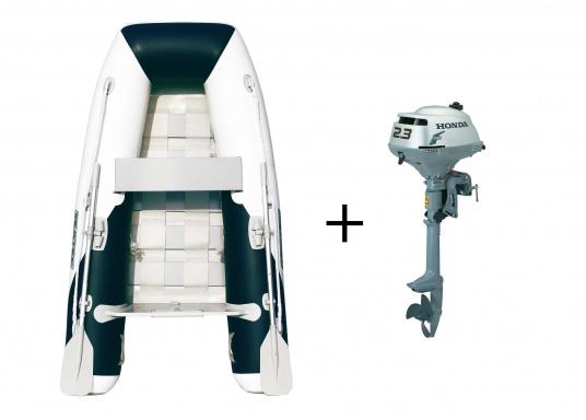 Das Set besteht aus dem SEATEC Schlauchboot YACHTING 225 und dem Außenbordmotor Honda BF 2,3.