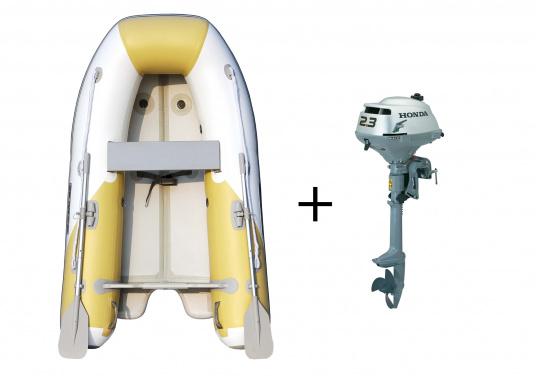 Das Set besteht aus dem SEATEC Schlauchboot AEROTEND 260 und dem Außenbordmotor Honda BF 2,3.
