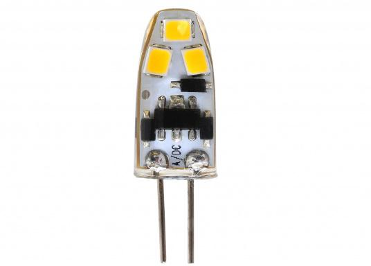 Besonders kompakter LED Einsatz G4 MINIATUR mit 6 LEDs. Liefert warmweißes Licht mit 90 Lumen. Das entspricht 8-10 W Halogen bei einem Stromverbrauch von nur 0,8 W.  (Bild 2 von 2)