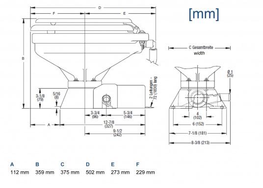 Ces WC marins QUIET FLUSH ont une chasse silencieuse, comme les toilettes domestiques. Un seul bouton pour deux niveaux de chasse (Image 4 de 4)