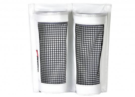 Kombination aus PVC und PU-Netz. Zur praktischen und einfachen Aufbewahrung von Windenkurbeln. Mit offenem Boden, damit sich kein Wasser in der Tasche sammelt.