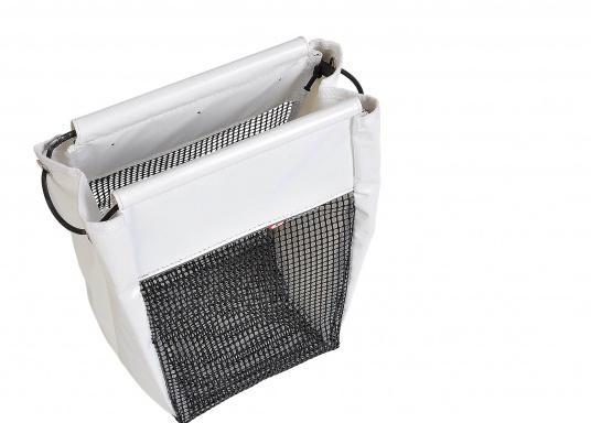 Hochformat Stautasche aus PVC und PU-Netz für Fallen und Schoten. Für eine einfache Handhabung wurde die Öffnung verstärkt. Wird mit Schrauben oder Klettband befestigt. (Bild 2 von 4)