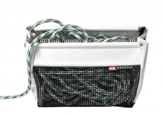 Querformat-Tasche aus PVC und PU-Netz zum Verstauen von Fallen und Schoten. Für eine einfache Handhabung wurde die Öffnung verstärkt. (Bild 2 von 2)