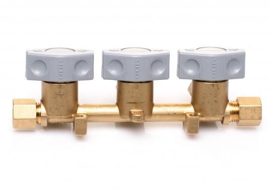 Mehrere Gasgeräte an einem zentralen Ort – mit diesem Verteilerblock ist das kein Problem. Der Sicherheits-Schnellverschluss-Verteilerblock ist geeignet für 8 mm Rohre bzw. Schläuche mit Rohr-Endstücken.  (Bild 2 von 6)