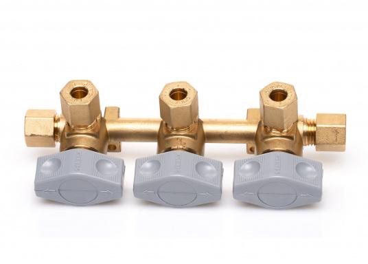 Mehrere Gasgeräte an einem zentralen Ort – mit diesem Verteilerblock ist das kein Problem. Der Sicherheits-Schnellverschluss-Verteilerblock ist geeignet für 8 mm Rohre bzw. Schläuche mit Rohr-Endstücken.  (Bild 3 von 6)