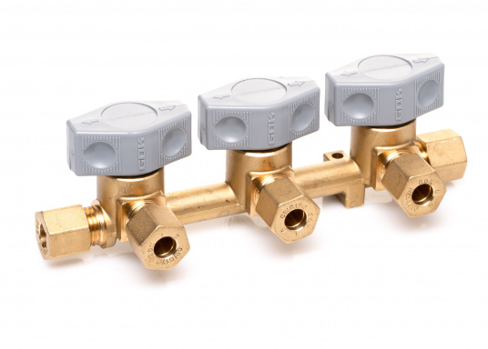 Mehrere Gasgeräte an einem zentralen Ort – mit diesem Verteilerblock ist das kein Problem. Der Sicherheits-Schnellverschluss-Verteilerblock ist geeignet für 8 mm Rohre bzw. Schläuche mit Rohr-Endstücken.