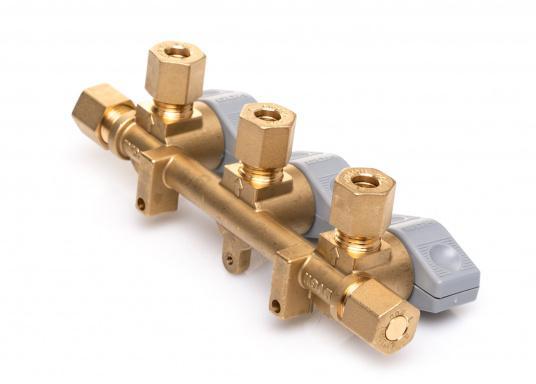 Mehrere Gasgeräte an einem zentralen Ort – mit diesem Verteilerblock ist das kein Problem. Der Sicherheits-Schnellverschluss-Verteilerblock ist geeignet für 8 mm Rohre bzw. Schläuche mit Rohr-Endstücken.  (Bild 5 von 6)