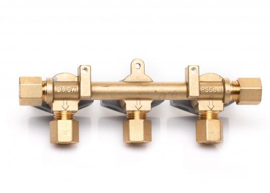 Mehrere Gasgeräte an einem zentralen Ort – mit diesem Verteilerblock ist das kein Problem. Der Sicherheits-Schnellverschluss-Verteilerblock ist geeignet für 8 mm Rohre bzw. Schläuche mit Rohr-Endstücken.  (Bild 6 von 6)