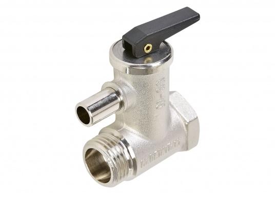 """SIGMAR - Sicherheitsventil für Boiler. 4 bar Auslösedruck, 1/2""""Anschluss, 10 mm Rohrstutzen."""