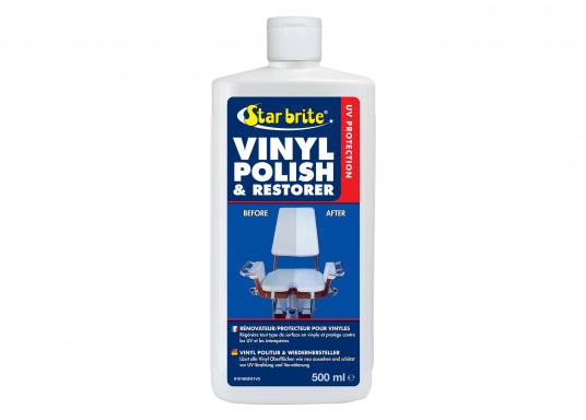 Vinyl Politur & Wiederhersteller. Lässt alle Vinyl Oberflächen wie neu aussehen und schützt vor UV-Strahlung und Verwitterung. Inhalt: 473ml.