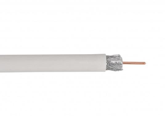 Satelliten-Kabel, zweifach abgeschirmt, mit Metermarkierung. Für digitale Signale aller Art, 75 Ohm.