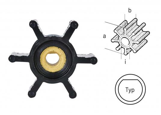 Vasta gamma di giranti di ricambio per pompe JOHNSON e Pompe JABSCO: in neoprene per le pompe acqua di mare e in nitrile per pompe di sentina, ciascuno in diverse versioni. (Immagine 3 di 3)