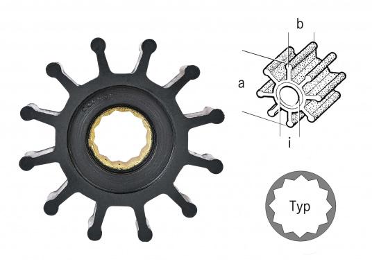 Vasta gamma di giranti di ricambio per pompe JOHNSON e Pompe JABSCO: in neoprene per le pompe acqua di mare e in nitrile per pompe di sentina, ciascuno in diverse versioni. (Immagine 3 di 18)