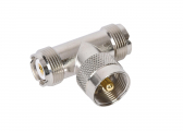UHF-T-Piece, 2x PL258 Sockets / 1 x PL259 Plug