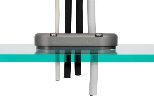 Die Kabeldurchführung DS-MULTI ist für mehrere Kabel bis 15 mm geeignet. Die Dichtung ist nicht vorgebohrt und kann daher universell angepasst werden. Das Gehäuse besteht aus Aluminium. (Bild 4 von 7)