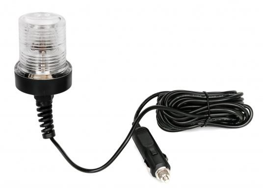 Vielseitig einsetzbare wasserdichteLampe mit integriertemDämmerungsschalter undspeziellenLinsenfür große seitlicheLeuchtweite sowie zur Flächenbeleuchtung unterhalb der Lampe. Einfacher Anschluss über4,5 m hochflexiblesAnschlusskabel mit Stecker undSicherung. Ideal als Ankerlicht zum Vorheißen geeignet. Lieferung inklusive Leuchtmittel und Montagematerial.