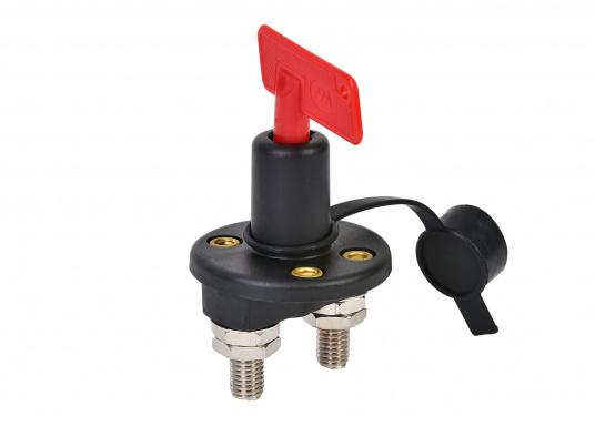 Batterie-Hauptschalter zur Unterbrechung des Stromkreises. Mit abziehbarem Schlüssel. Dauerbelastung: 12 V / 100 A. Maximale Belastung: 12 V / 500 A für 10 Sekunden.