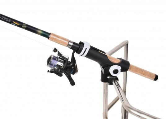 Practical fishing rod holder, made out of sturdy plastic. Suitable for mounting on rails with a diameter of 25 - 30 mm. (Imagen 6 of 7)