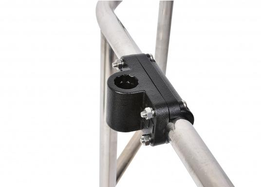 Practical fishing rod holder, made out of sturdy plastic. Suitable for mounting on rails with a diameter of 25 - 30 mm. (Imagen 4 of 7)