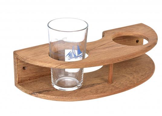 Teak Halter für Gläser in schickem, gebogenem Design. Teak ist wasserabweisend, beständig gegen extreme Temperaturschwankungen, harte Witterungen, Pilz- und Insektenbefall.
