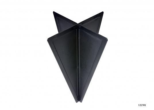 ZusammenfaltbarerSignalkegel, hergestellt aus schwarzem Kunststoff. Kann, da zusammengesteckt, flach und platzsparend verstaut werden.  (Bild 2 von 5)