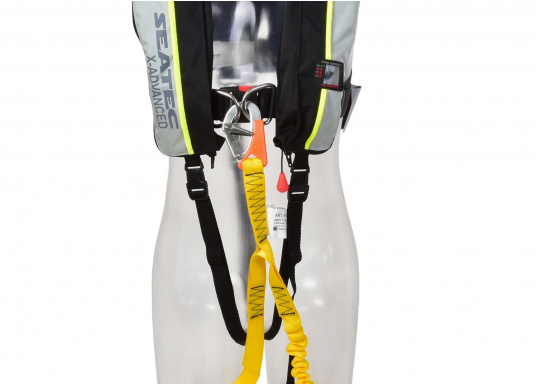Flexible 3-Punkt-Lifeline, hohe Festigkeit, keine Gefahr des Vertörnen, kein unkontrolliertes Öffnen durch Spezial Karabiner, CE-geprüft.  (Bild 2 von 3)