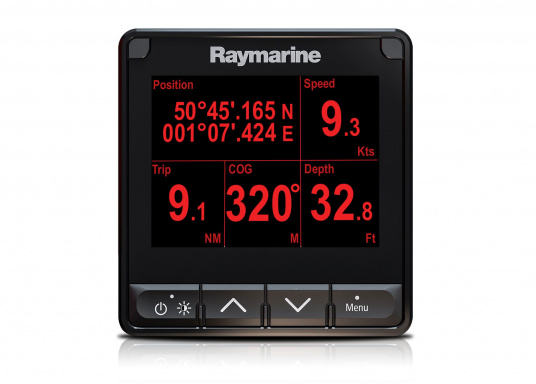 """The i70s multifunction display gives you the flexibility to display instrument and navigation data that is most important to you. Equipped with a bold and bright 4.1"""" display the i70s is easy-to-customize with digital, analog and graphical displays of depth, speed, wind and more. (Image 5 of 6)"""