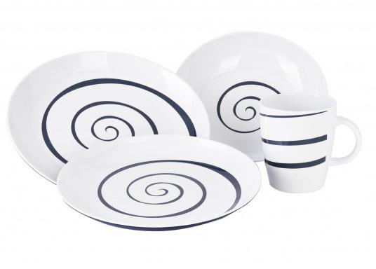 Praktisches Bordgeschirr in modernem Design bestehend aus 16 Teilen: 4x Essteller, 4x Dessertteller, 4x tiefe Teller, 4x Henkelbecher. (Bild 2 von 3)