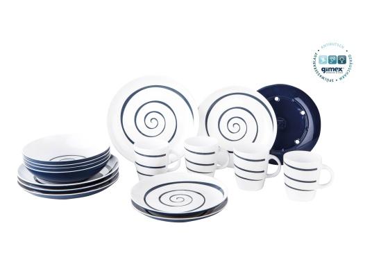 Praktisches Bordgeschirr in modernem Design bestehend aus 16 Teilen: 4x Essteller, 4x Dessertteller, 4x tiefe Teller, 4x Henkelbecher. (Bild 3 von 3)