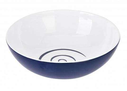 CLASSIC LINE TWIST BLUE cereal bowls. The bowls are made out of unbreakable melamine and have slip-resistant rubber on their undersides. (Image 2 of 3)