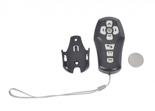 """Commande à distance sans fil avec bracelet pratique, compatibles avec les projecteurs Marinco de la gamme """"Precision"""". Portée : 65 mètres.Les touches phosphorenscentes sont visibles dans l'obscurité. (Image 2 de 2)"""
