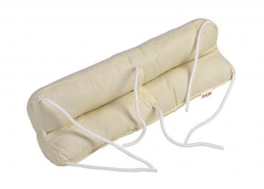 Coussin de filière en kapok natureléquipé de trois attaches amovibles pour une fixation rapide et réglable en hauteur.