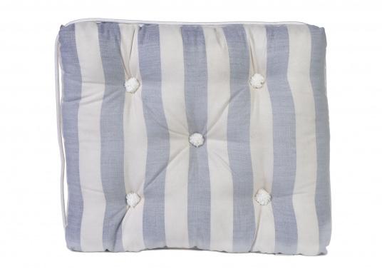 Schwimmfähiges Kissen mit echter Kapok-Naturfaser-Füllung. Bezug 100% Baumwolle.