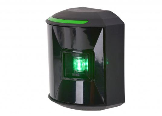 LED-Steuerbordlaterne der Serie 44 mit schwarzem Gehäuse.Die hochqualitativen und modernen LED-Positionsleuchten der Serie 44 überzeugen mit edlem Design und ultra heller Power LED.