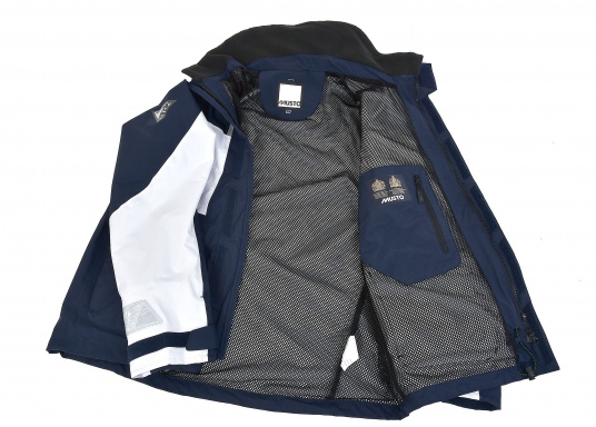 Designed for cruising sailors who spend considerable time on the water. The jacket is mesh lined and is fully waterproof and breathable. Features such as the high fleece-lined collar, a double storm flap and fleece lined pockets will enhance comfort on the water.  (Image 8 of 8)