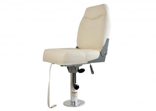 Breiter, komfortabler Bootsstuhl mit extra hoher, klappbarer Rückenlehne. Abmessungen (BxHxT): 50 x 58 x 50 cm. Ein passender Stuhlfuß ist separat erhältlich. (Bild 2 von 4)