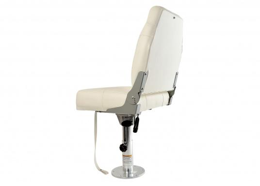 Breiter, komfortabler Bootsstuhl mit extra hoher, klappbarer Rückenlehne. Abmessungen (BxHxT): 50 x 58 x 50 cm. Ein passender Stuhlfuß ist separat erhältlich. (Bild 4 von 4)